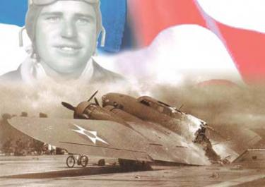 Lee?s Destroyed B-17. At about 8:20 a.m. on December 7, twelve B-17s en route from California to Oahu flew right into the middle of the attack on Pearl Harbor. Unarmed and low on fuel, the planes became instant prey for Japanese fighters. Lee was a gunner in this B-17 bomber that landed on fire at Hickam Field.