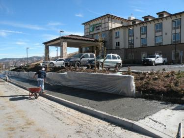 Finishing touches are being put on the exterior and interior of the brand new Holiday Inn Express Hotel in Lebec. Employment applications are being accepted right now.