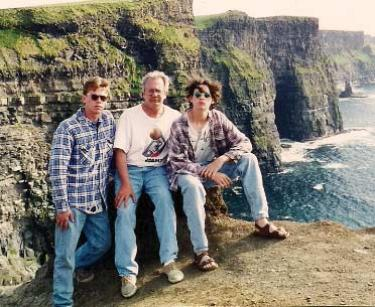 Nicholas Covelli's brother Steve, father Tony and Nick on the coast of Ireland in 1998.