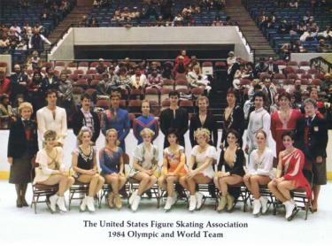 Mark Cockerell (back row, seventh from the left) standing with the 1984 Olympic and World Team.