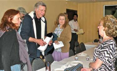 Two meetings have been held about the current Lebec County Water Board. Here, Rebecca and Mike Bugbee, Greg Keenberg of Frazier Park Public Utilities District, Patti Svestka, Jagmit Mann and Millie Karr on February 11, talking about Brown Act issues. Millie Karr co-chaired the board recall meeting March 5.