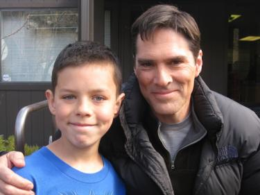 Actor Thomas Gibson pauses for a snapshot with Garrett Halks.