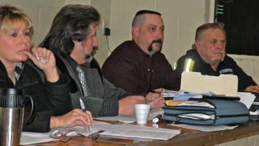 "(Left to right) The Lebec County Water District Board, Julie McWhorter, Steve Cozzetto, Darren Hager and Jack Rider, met publicly with Jagmit ""Jay"" Mann (co-owner of the new Holiday Inn Express hotel in Lebec) at the April 5 board meeting. Phil Aaland (a retired broadcast engineer, appointed at the end of the meeting to the LCWD board) and Jeff French (the Holiday Inn's civil engineer and co-owner/developer of property around the hotel) also attended."