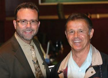 Cornerstone Engineering's Darril Whitten (left) with a tired but happy Frank Arciero, Jr. April 20 after winning what could be the next-to-the-last vote in a seven-year battle for the Frazier Park Estates development in Lebec.