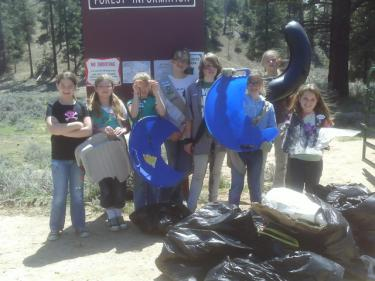 Girl Scout Troops 134 and 404 spent a fun and beautiful spring day on Sunday, April 25 picking up trash on Snowbunny Hill and practicing