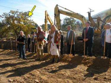 The 300-year-old heritage oak looms over the library groundbreaking ceremony during the Chumash prayer blessing the site.
