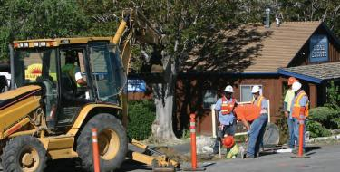 During June, crews replaced old water mains along Mt. Pinos Way, prior to prepwork for installing sidewalks and curbs.