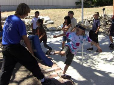 Youth from the Mountain Institute of Kung Fu and Tai Chi conducted the martial arts training July 19-23.