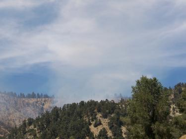 Mountain Community residents said they could see the smoke, but no flames, from the direction of the forest where the Scott fire burned in 2006. [Woerter photo]