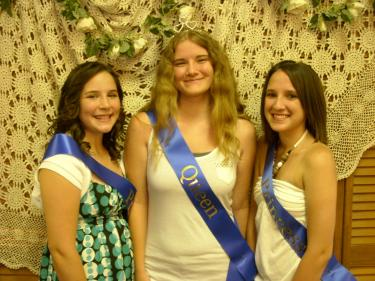 The Fiesta Days Royal Court: Queen Mary Schmidt (center) and Princesses (l-r) Samanntha Johnston and Kayla Flinn host events and contests.