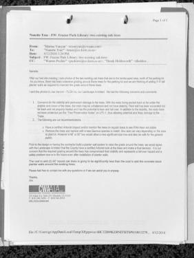 "This April 12, 2010 document was called the ""smoking gun"" by architect Max Williams. In it, James Nardini, AIA points out that the oaks have been damaged due to grading and that the requirements for protection of the oaks had been detailed in the original plans, to which the contractor had agreed."