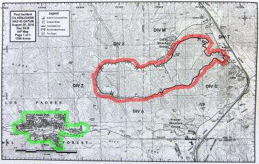 The Mountain Enterprise has marked this fire department map to show where the fire lines were as of 6 a.m. Wednesday, Aug 25. The fire front (shown in red) was one mile northeast from Frazier Park (shown in green) at that time.