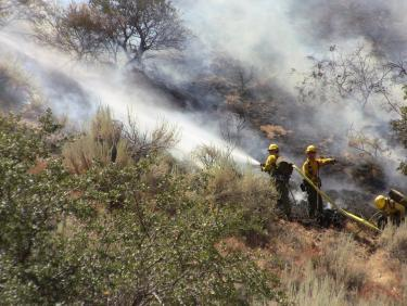 A Kern County strike team moves in on the lower flank of the Post fire above Lebec Road just 30 minutes after the fire started. [Mountain Enterprise photo]