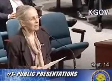 Katherine King (above) and Linda Robredo, mountain residents, speak to Supvr. Ray Watson and Kern County Board of Supervisors on Sept. 14.