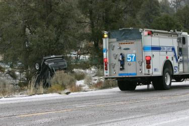 Kern County Fire Department's Engine 57, sheriff's deputies, California Highway Patrol and Hall Ambulance Service all responded to this incident. [photo by The Mountain Enterprise]