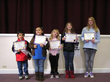 Gorman School held its second awards assembly on November 8 and named (l-r) David Rubio, Emily Chavez, Trinity Langsfeld, Rose Rupp and Britney Lewis as students of the month.