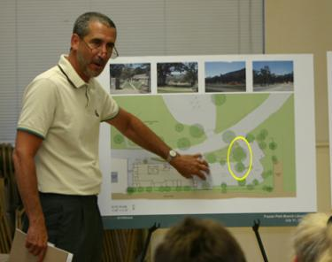 The Promise: The architect and the Kern County Director of Libraries Diane Duquette promised the town in several public meetings that the heritage oaks at the library site would be preserved. (Above) The county architect in 2008 showing that the heritage oaks would be preserved at the library site. Those circled above in yellow were destroyed by a contractor that failed to follow the stipulations of its contract.