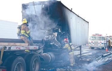 Kern County firefighters were delayed in getting to the crash by traffic backed up for six miles and lengths of pipe strewn across the roadway. They arrived about 15 minutes after the crash, John Hughes estimates. They immediately worked to put the fire out and tended to the injured. The Hughes were appreciative of their skill. The ambulance arrived about 30 minutes after the crash. Frear was medevacked to Bakdersfield, and then to a burn center in Fresno. [Photo courtesy KCFD] See video interview below.