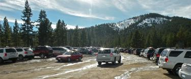 Who can wonder why the crisp snow and pine trees on Mount Pinos attract snow visitors to the Los Padres National Forest lands? This is the parking lot at the Mil Potrero Y, at the top of Cuddy Valley on Sunday, Jan. 9 as visitors arrived to sled and throw snowballs.