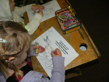 Museum Historian Bonnie Kane gave the girls a big coloring sheet of a flying condor.