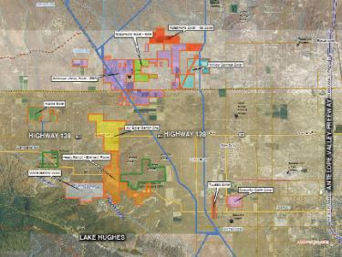 There are said to be 33 companies buying up land and seeking Los Angeles and Kern County permits to develop energy generation facilities in the region. This map shows just 10 of them concentrated in the West Antelope Valley area. The community is concerned about cumulative impacts. They insist that Environmental Impact Review and full compliance with California Environmental Quality Act (CEQA) procedures for public input are necessary. L.A. County, four days before Christmas, gave a conditional use permit to a solar company's project, with no EIR required.