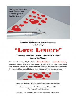 Valentine's Tip: Love Letters by The Mountain Shakespeare Festival on Saturday, Feb. 12