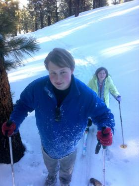 "Solomon and Marie Bogdanoff ski cross-country on Mount Pinos last Sunday, Feb. 27. ""It was a beautiful adventure through the woods on the powdery snow. Mt. Pinos Wintersports in Lake of the Woods has a ski gear package that we rent for $6 per day,"" dad Peter Bogdanoff writes."