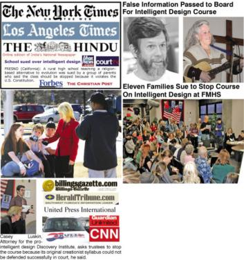 Clockwise, from left: An international news story centered at Frazier Mountain High School erupted in January 2006. Right top: The passing of false information to the ETUSD Board of Trustees in December 2005 by the high school principal and the superintendent led to eleven families suing the district (right bottom) when a Philosophy of Intelligent Design class proposed by teacher Sharon Lemburg with Principal Dan Penner and Superintendent John Wight was approved by the board. The events took place shortly after federal courts had ruled such courses unconstitutional. Parents pointed out that science labs at the school were not functional and science courses at the school were minimal at the time.[Hedlund photos for The Mountain Enterprise]