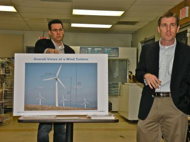 NextEra's wind turbines are shown in this photo presented by the company to the Fairmont Town Council. The illustration gives a vertical measurement of 492 feet at its fully in its fully extended position.