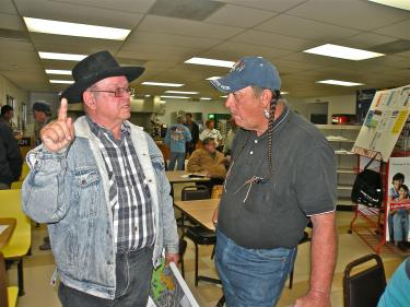 Neenach landowner, filmmaker and energy consultant Richard Skaggs warns Fairmont Town Council Vice President David Hyatt about the &quot divide and conquer &quot tactics he fears eager energy companies and Los Angeles County politicians will use on residents of the Western Antelope Valley. Many residents fear there is a push to place billions of dollars of energy plants in the area without adequate planning for cumulative impacts on the region.