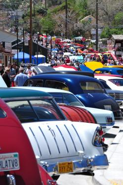 Kody Hughes sent this photo of a rainbow of classics at the Ridge Route Run Car Show today, Saturday May 28 in downtown Frazier Park.