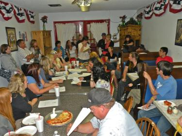 The May 31 meeting at Caveman Caveys cave was packed, with standing room only for about 50 people.