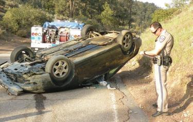 Nicholas Gilbert, 24 was driving westbound on Mil Potrero Highway into Pine Mountain when he missed a sharp curve and ran across the eastbound lane into the hillside, flipping his car. Fortunately, no oncoming vehicle was hit and no one else was hurt.