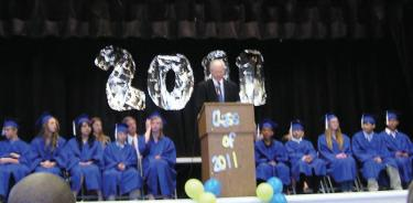 Los Angeles County Supervisor Michael Antonovich gave the graduation address to Gorman eighth graders.