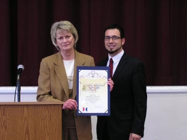 Julie Ralphs received a Dedication Certificate from David Perry (Deputy to LA Co. Supervisor Michael Antonovich).