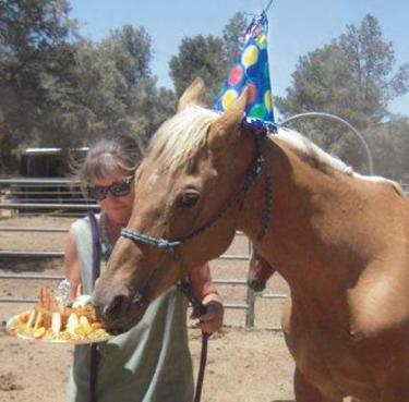 Heroic Hugs the handsome Palomino turned 32 this spring. Tina Jaskieiwcz has been with him for over 20 years.