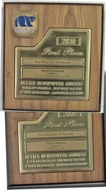 A couple of the many state and national awards won by The Mountain Enterprise since 2007, for public service, investigative reporting and excellence in online news coverage.
