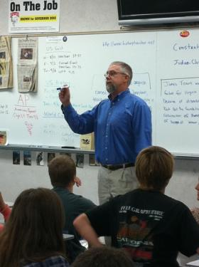 Instructor John Domke teaches the AP U.S. History class, offering FMHS students a college course in high school.