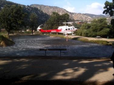 Sierra Kerr sent this shot of Los Padres National Forest helicopter 530 loading its water tanks from Frazier Mountain Park pond at about 4 p.m. Sunday.