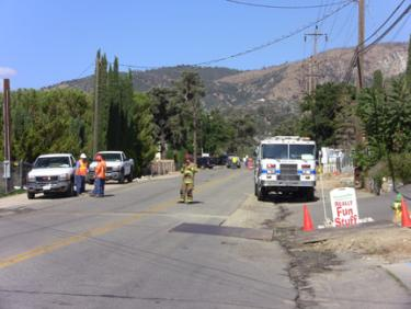 Gas Line Ruptured on Mt. Pinos Way--Motel Evacuated