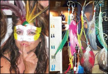 "Gigi Nommensen: I have been exploring another exciting art medium, ""Art to Wear""—creating fantasy feather jewelry to bring out the wild spirit in all of us."