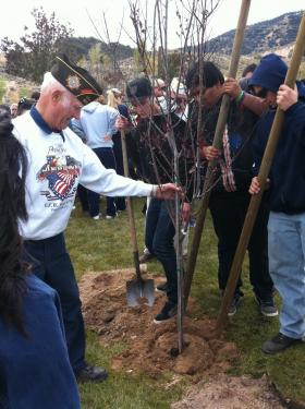 There were also tree-planting ceremonies at Frazier Mountain High School in an assembly which Jarudd and Reed Prosser attended. Above, students and veterans work together. [Anthony Saba photo special to The Mountain Enterprise]