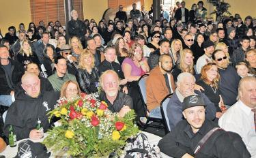 Hundreds flowed into the Pine Mountain Clubhouse for the memorial for Devin Storz in 2010. [Hedlund photo for The Mountain Enterprise]