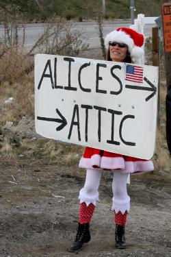 Santas helper was out on Frazier Mountain Park Road in Lebec, directing shoppers to great holiday bargains.
