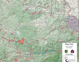 This is is the fire footprint map July 4, 2016 at noon. Each quadrant represents one square mile. The fire is 5 miles south of western Lockwood Valley Road and 13 miles south of Pine Mountain Club. Click on the image to enlarge the size of the map.