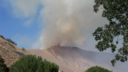 The Lebec fire comes over the hill heading south toward homes in O'Neill Canyon. [photo by Robin Barrington]