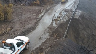 Highway 33 washed out 12 miles south of the Lockwood Valley Road and Highway 33 intersection. Photo courtesy of Caltrans.