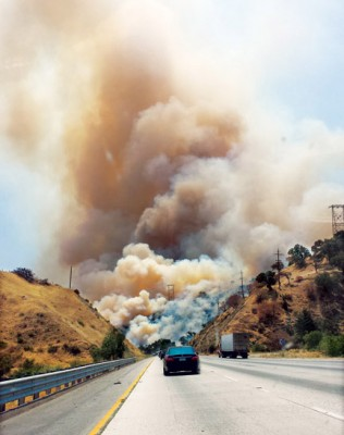 Aaron Rose captured the early, anxious moments of the Rancho fire from Interstate 5.