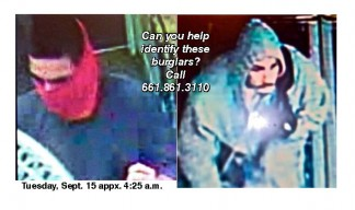 The Frazier Park Pharmacy was broken into on Tuesday, Sept. 15 at about 4:25 a.m., leaving one door without glass. Above: Senior Deputy Brian Knox released these photos of the intruders, with the hope that readers will give the sheriff's office some quick tips about who these burglars might be or tell about anything suspicious that may have been seen early Tuesday morning. Please call the substation at 661.245.3440 or the Tip Line at 661.861.3110.