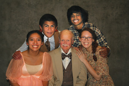 Essie (Mikaela Kjenaas) and her husband Ed (Mike Stegeman), Grandpa Vanderhof (Beans Morroco), Paul (Dallas Matthew) and Penny (Delaney Peterson) [Focus Central photo]
